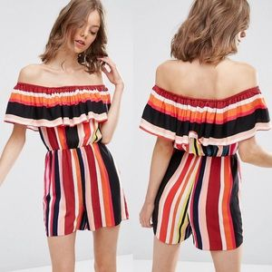 ASOS Off the Shoulder Ruffle Striped Romper 14